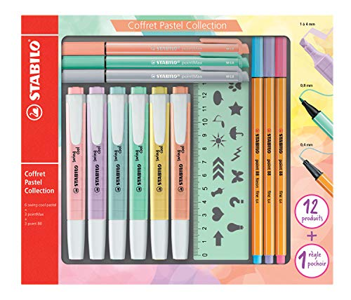STABILO Pastel Collection Set Confezione mista 13pezzi: 6swing cool pastel, 3point 88, 3pointMax,...