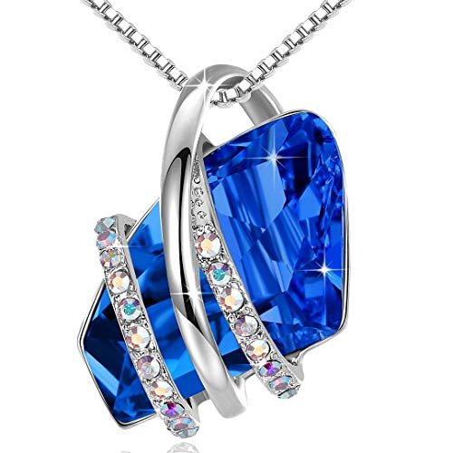 Leafael Wish Stone Pendant Necklace with Sapphire...