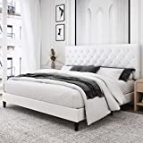 Kealive Faux Leather Upholstered Platform Bed Frame with Adjustable Diamond Button Tufted Headboard, Wooden Slats Support, Mattress Foundation, No Box Spring Needed, Easy Assembly, Queen Size, White