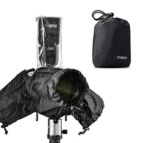 Tycka Protezione Pioggia per Fotocamere, supporta cintura e Flash, con 10 fogli di carta assorbente, impermeabile anti-pioggia per DSLR Canon Nikon Sony Pentax Olympus