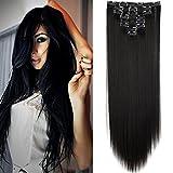 Elailite - Clip para el cabello con efecto natural, 8 diademas, pelo largo y liso, 59 cm, ...