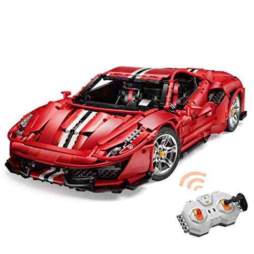 Oeasy Technic Sports Car for Ferrari 488 Pista, 3187 Pieces 1:8 Supercar with Remote Comtrol Motors and LED Lights, Building Set Compatible with Lego