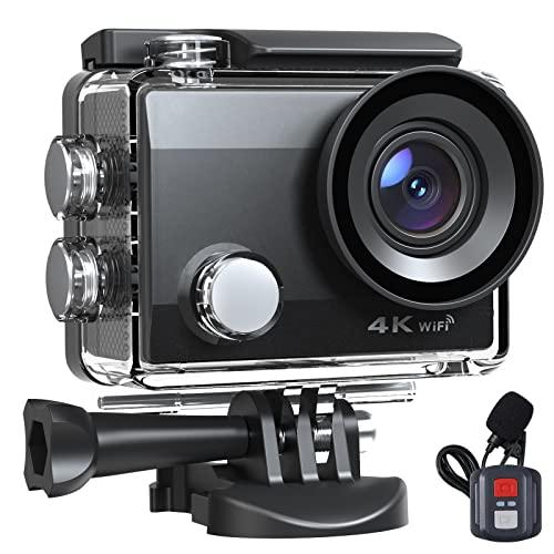 Action Cam 20MP 4K Fotocamera Impermeabile Videocamera EIS 40M Anti-Shake Fotocamera Subacquea 170° Supporto Grandangolare Microfono Esterno con Telecomando Kit di Montaggio Batteria 2X1050mAh