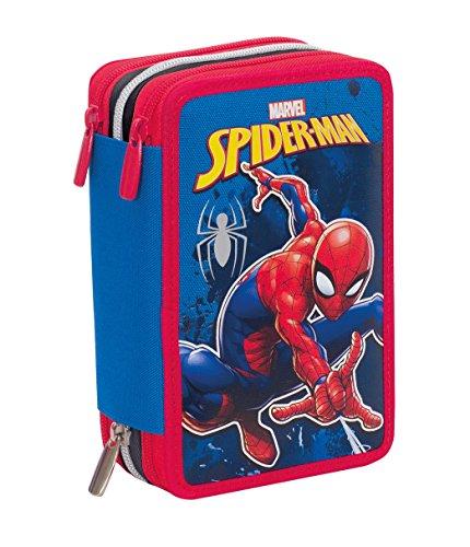 Astuccio 3 Zip Marvel Spider-Man, Rosso Blu, Con materiale scolastico: 18 pennarelli e 18 pastelli...