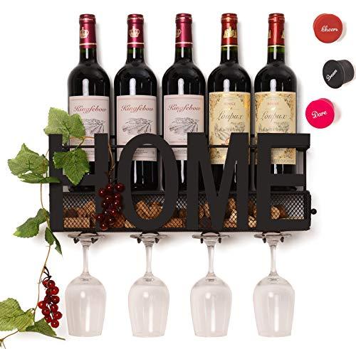 Soduku - Portabottiglie da parete in metallo, per bottiglie di vino, con 4 supporti per bicchieri a...