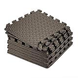 Tebery 16 Pieces Leaf Pattern Interlocking Floor Tiles Non-Slip Exercise Mat 1/2-Inch Thick EVA Foam Puzzle Floor Mat (Brown)