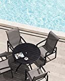 FRP 5 Pieces Outdoor Dining Set Patio Furniture with Metal Slat Finish, Steel Tube 38' Round Patio Table, Patio Table and Chairs with 1'5' Umbrella Hole