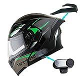 1Storm Motorcycle Modular Full Face Flip up Dual Visor Helmet + Spoiler + Motorcycle Bluetooth Headset: HB89 Storm Green