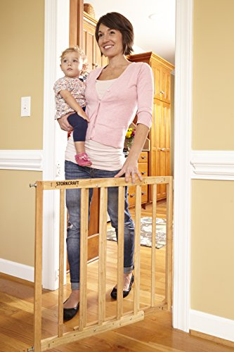 Storkcraft Easy Walk-Thru Wooden Safety Gate, Natural Adjustable Baby Safety Gate For Doorways and Stairs, Great for Children and Pets