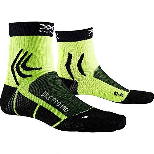 X-Socks Bike PRO Mid, Calzini da Ciclismo Unisex-Adulto, Opal Black/Phyton Yellow, 42-44