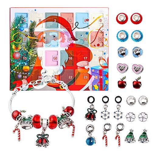 Kaikso-In Calendario adviento Pulseras de Bricolaje Conjunto de Joyas de Moda con 22 amuletos 2019 Christams Countdown Calendar Regalos para Mujeres niñas