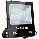 FAISHILAN 100W Led Flood Light, 500W Halogen Equiv Outdoor Work Lights, IP66 Waterproof with US-3 Plug in Led Security Light