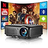WiFi Projector Bluetooth 4600 lumens, Wireless Home Theater Projector HD 1080P Android OS LED Movie Projector with 4D Keystone & Zoom Compatible with Phone PC TV Stick PS5 Build-in Dual Speaker