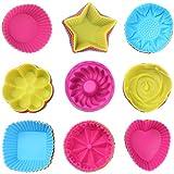 Moule gateau silicone, Liesun Lot de 36 moule à muffins, moule cupcakes, moulessilicone patisserie, moulle à muffins silicone, moulle à Gâteau Silicone, 9 formes,couleur arc-en-ciel.