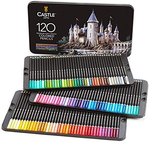 Castle Art Supplies Set da 120 matite colorate per artisti, con mine'soft series' per...