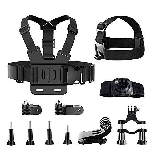 TDCQ 11pcs Kit di Accessori per Action Camera,Fascia da Testa per Action Cam,Fascia da Testa per Cellulare,Fascia da Testa per Telefono,Action Camera