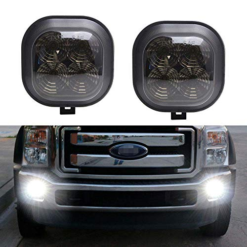 iJDMTOY Smoked Lens Xenon White LED Fog Lamp Assy Compatible With 99-16 Ford F250 F350 F450 & 01-04 Excursion, OEM Fit Powered by 40W CREE LED Lights