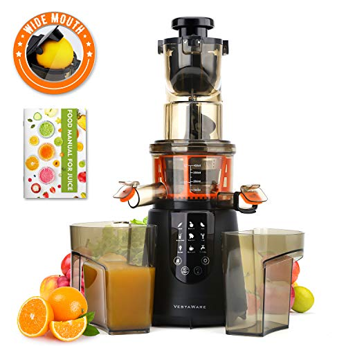 Masticating Juicer, Vestaware Slow Juicer Machines Large Chute Cold Press Juicer with Quiet Motor & Reverse Function, Easy Clean BPA-Free Juice Extractor with Recipes for Fruits and Vegetables