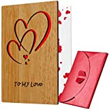 Valentines Day Cards for Her Him, Wood Anniversary Gifts for Husband...