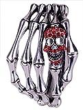 YACQ Women's Skull Skeleton Hand Hinged Bangle Bracelet Fit Wrist Size 7 to 8 Inch - Lead & Nickle Free - Women Girls Biker Jewelry - Halloween Costome Accessories (Red)