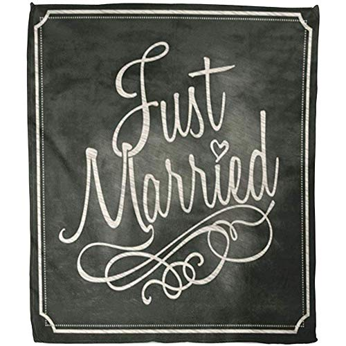 Fleece Blanket Testo Just Married Lettering Segno sulla Lavagna Gesso per Matrimoni Lavagna da...
