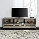 Walker Edison Furniture Company Modern Slatted Wood 80' Universal TV Stand for Flat Screen Living Room Storage Cabinets and Shelves Entertainment Center, Slate Grey