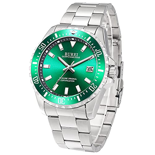 BUREI Uhren Herren Analog Herrenuhr Edelstahl Silber Armbanduhr mit Datum Saphirglas Uhr Wasserdicht Groß(Grün)