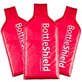 3 Pack Reusable Wine Protector Travel Bag by Bottle Shield - Double Layer Bubble Cushioning Wrap Suit | Leak Proof Unbreakable Bottle Sleeve | Wine Bags Gift Accessory for Suitcase Luggage