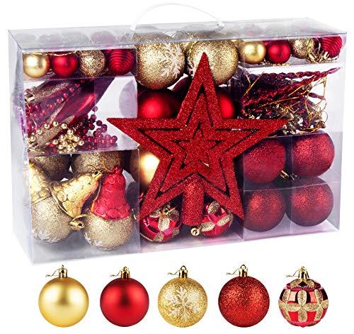 100 Piezas Bolas de Navidad de Color Rojo y Dorado, Adorno Colgante de Plástico para Árbol de Navidad, con Estrella, Cadena, Campana, Punzón