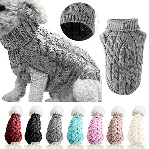 Petyoung Hundepullover Weste Warmer Mantel Haustier weiche Strickwolle Winter Pullover gestrickt Häkeln Mantel Kleidung für kleine mittlere große Hunde (L, Grau)