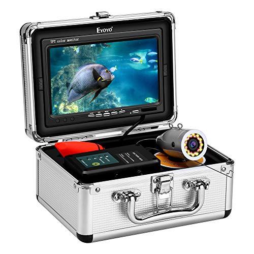 Eyoyo Monitor da 7 pollici Videocamera Fish Finder pesca subacquea Video HD 1000 TVL LCD impermeabile regolabile e luce gialla per pesca in mare sul lago ghiacciato Cavo da 50 m (164 piedi)