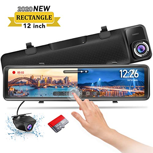 PORMIDO Mirror Dash Cam-Backup Camera 12'Large Full Touch Split Screen Front and Rear View Camera 1296P HD Waterproof Back up Car Camera 170 Wide Angle,Starlight Night Vision,Parking Monitor, SD Card