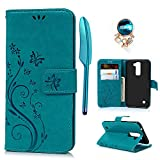 MOLLYCOOCLE LG K10 Case, Wallet Case Premium PU Leather Embossed Butterfly Flower Pattern Soft TPU Inner Bumper Skin Phone Cover Case for LG K10 (2016) - Blue