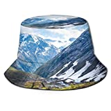 Yuanmeiju Unisex Sombrero de Sol de Cubo Peacock Wide Brim Outdoor Sun Protection Walking Fisherman's Caps,Nature Mountain Range Fog Sunrise Landscape