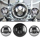 SUNPIE 7 Inch Black Motorcycle LED Headlight + 2pcs 4-1/2' Fog Lights for Harley Davidson LED Passing Lights Front Lights Driving Lamp Projecotor