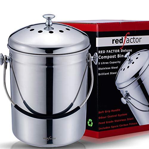 RED FACTOR Deluxe Kompostbehälter Küche Aus Edelstahl Geruchlos - Bio Mülleimer - Inklusive 6 Kostenlosen Aktivkohlefiltern (Glänzender Stahl, 5 Liter)