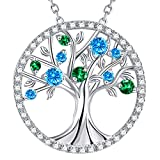 GinoMay Valenteins Day Birthday Gifts Tree of Life Necklace March Birthstone Blue Aquamarine Green Emerald Jewellery for Her Sterling Silver