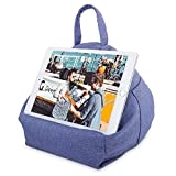 MoKo Tablet Pillow Stand, Tablet Lap Pillow on Bed Sofa Soft Cushion Holder for Phones Tablets Up to 11', Fit with iPad 10.2' 2019, iPad Air 3 2, iPad Pro 11 2020/10.5/9.7, Mini 5/Mini 4 - Denim Blue