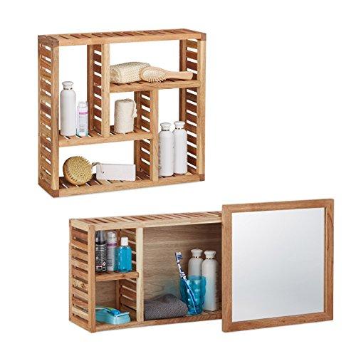 Relaxdays 2 TLG. Badregal Set Walnuss, Wandregal mit 5 Fächern, Badezimmerschrank mit Spiegel, Holzschrank, Natur, geöltes Holz