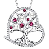 GinoMay Birthday Gifts for Women July Birthstone Ruby Jewellery Tree of Life White Pearl Sterling Silver Love Heart Pendant
