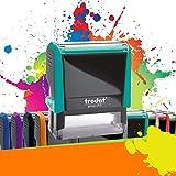 TRODAT PRINTY 4912 | Tampon encreur professionnel personnalisé 4 lignes | 10 couleurs disponibles | EMPREINTE 47 x 18 mm OFFERTE (Turquoise)