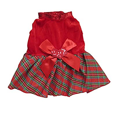 Red Christmas Pet dress Material:Cotton and polyester Ribbon knot heart decoration on back Colorfulhouse Bow-knot design Christmas Plaid Skirt for small to medium dogs Size may smaller than US size ,we suggest you chance the bigger sizer as usual.