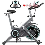 FUNMILY Indoor Exercise Bike Stationary, Cycling Bike-Belt Drive with Heart Rate Monitor & LCD Monitor, Comfortable Seat Cushion, Flywheel- Commercial Standard for Home Cardio Workout (Silver)