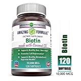 Amazing Formulas Biotin Made with Coconut Oil Dietary Supplement - 10,000mcg - 120 Softgels - Supports Healthy Hair, Skin & Nails - Promotes Cell Rejuvenation