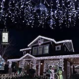 Led Icicle Lights Outdoor Christmas Decorations Lights 65.6 FT 640 LED,8 Modes Fairy String Lights Curtain Light String for Bedroom Patio Yard Garden Wedding Party (Cool White)