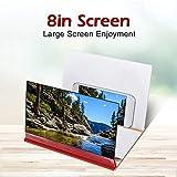 ASHATA Agrandisseur d'Écran Smartphone, 8 Pouces Écran Loupe 3D Amplificateur d'écran Screen Magnifier pour Intérieur, Camping, Tourisme(Rouge)