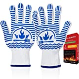 Recoty Oven Gloves 1472°F Extreme Heat Resistant BBQ Gloves, Flexible Grill Gloves, Food Grade...
