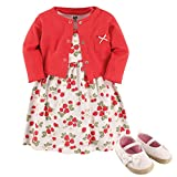 Hudson Baby Baby Girl Cotton Dress, Cardigan and Shoe Set, Strawberry, 12-18 Months