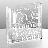 KATE POSH - First Wedding Anniversary Paper Gifts - 1st Year of Marriage Engraved Paperweight and Keepsake - Best Friends Wedding Gifts, First (1st), First Year as Husband & Wife