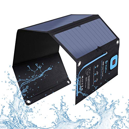 BigBlue 28W Solar Charger with Digital Ammeter, 2USB(5V/4A Max Overall), Portable Waterproof Solar Panels Phone Charger